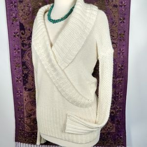 LOFT Ivory wrap front lpacw blend sweater L